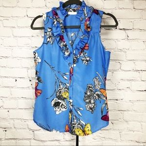 NY & Co Blue Floral Butterfly Ruff Collar Top XS